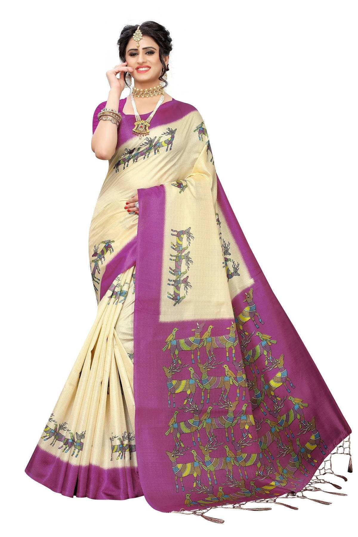 Vamika Multicolor & Wine Red Kalamkari With Jhalar Khadi Silk Saree