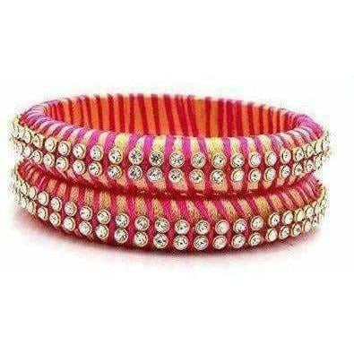 Pink Color Threaded and White Stone Bangles - Set of 2 Bangles