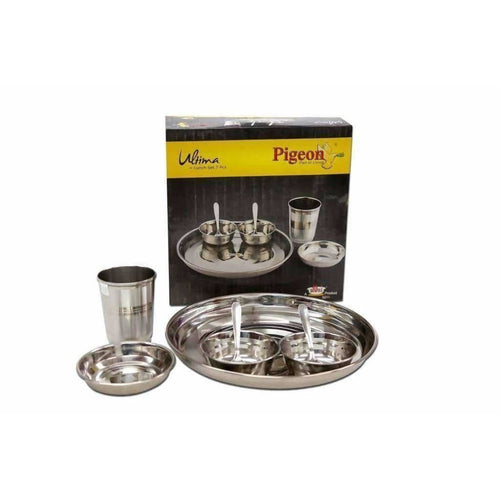 Pigeon Ultimate Lunch Thali Set With Bowls , Glasses and Spoons  - 7 Pieces - Dista Cart