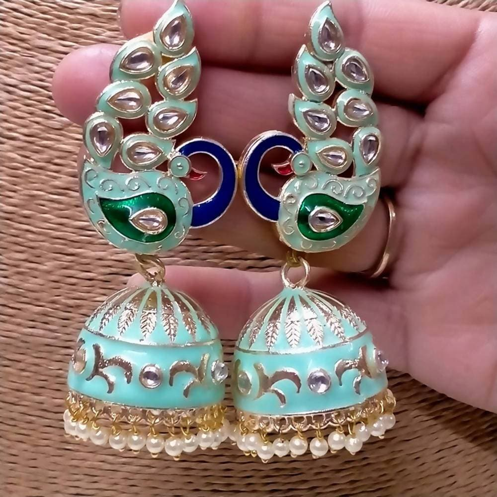 Megha Creations Peacock Jhumka Sea Green Colour Earrings - Distacart