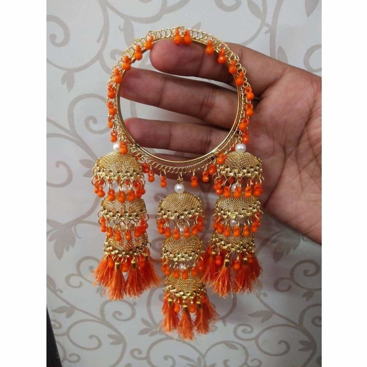 Stylish Gold Color Hanging Jhumka Bangles With Pearls, Threads