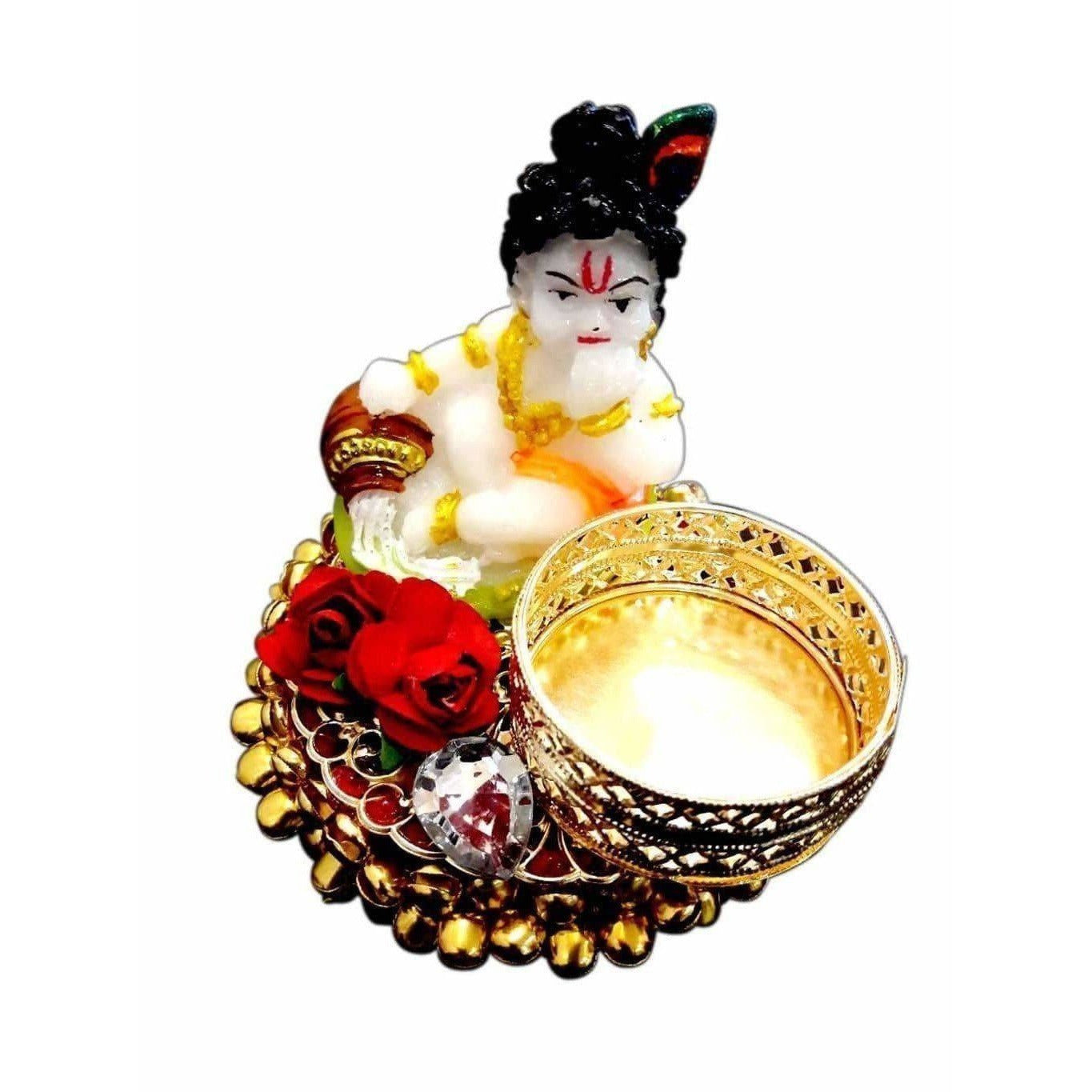 Little Krishna Candle with Gold Beads Kumkum Holder