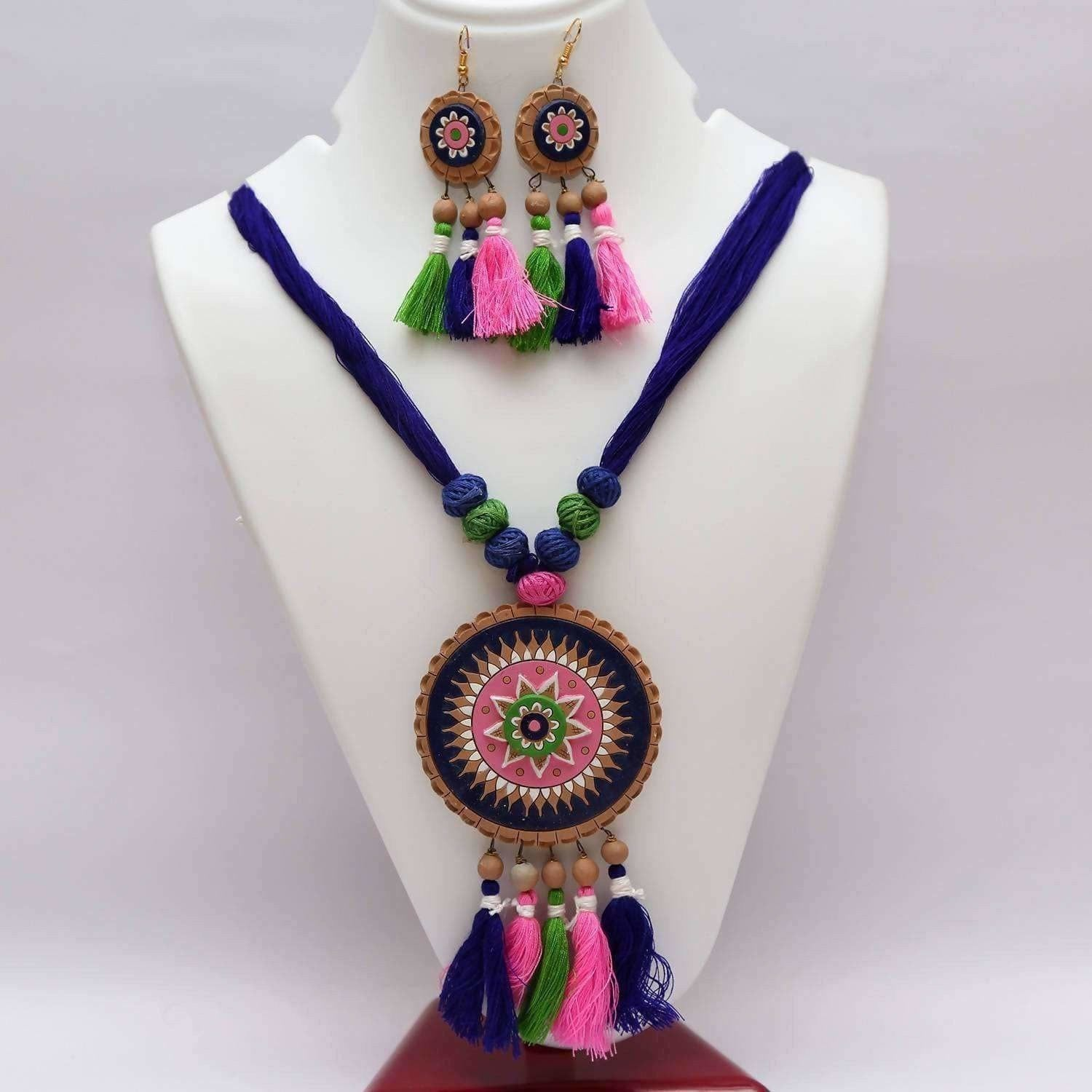 Terracotta Jewelry Thread Chandra with Dangling Earrings