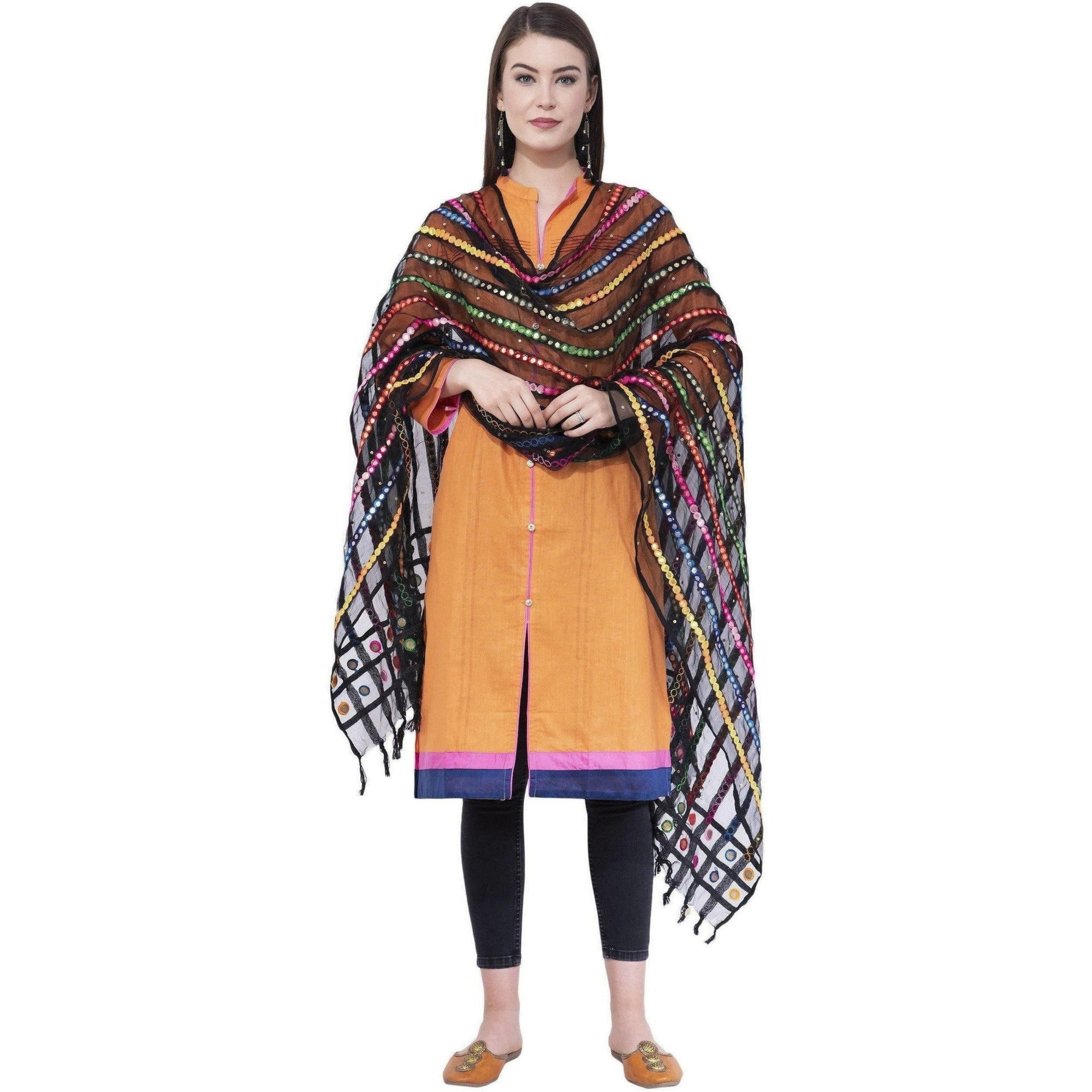 A R Silk Women's Multi Thread Work Orgenza Cotton Black Dupattas and Chunnis