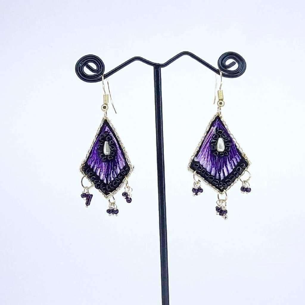 Hand Crafted Earrings Purple Thread Work