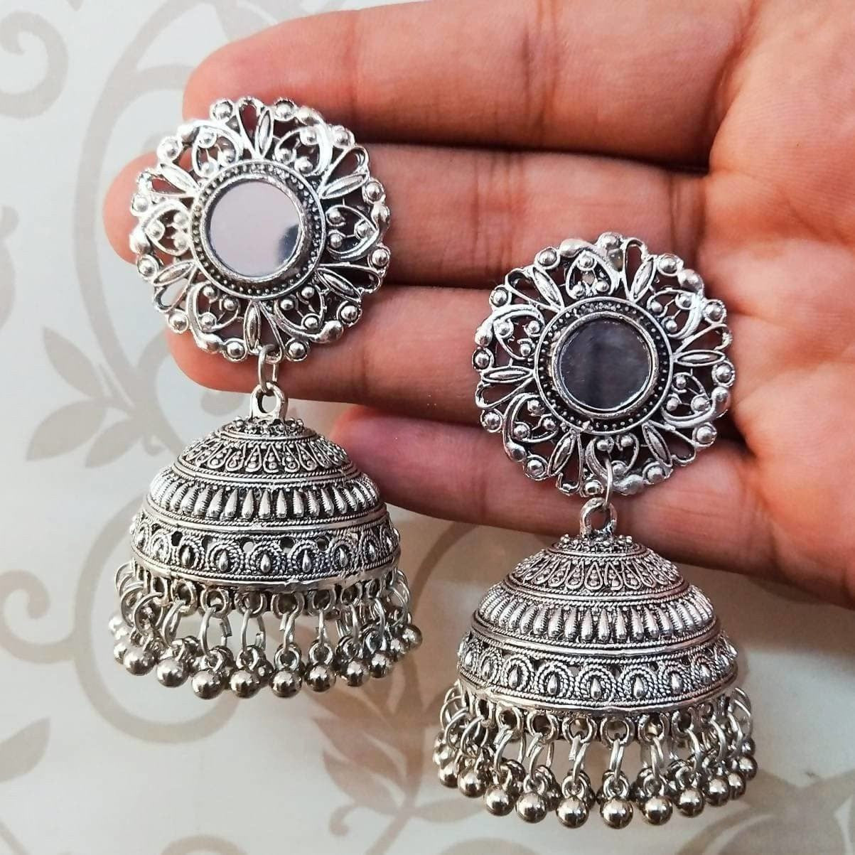 Silver Oxidized Designer Traditional Jhumka Earrings