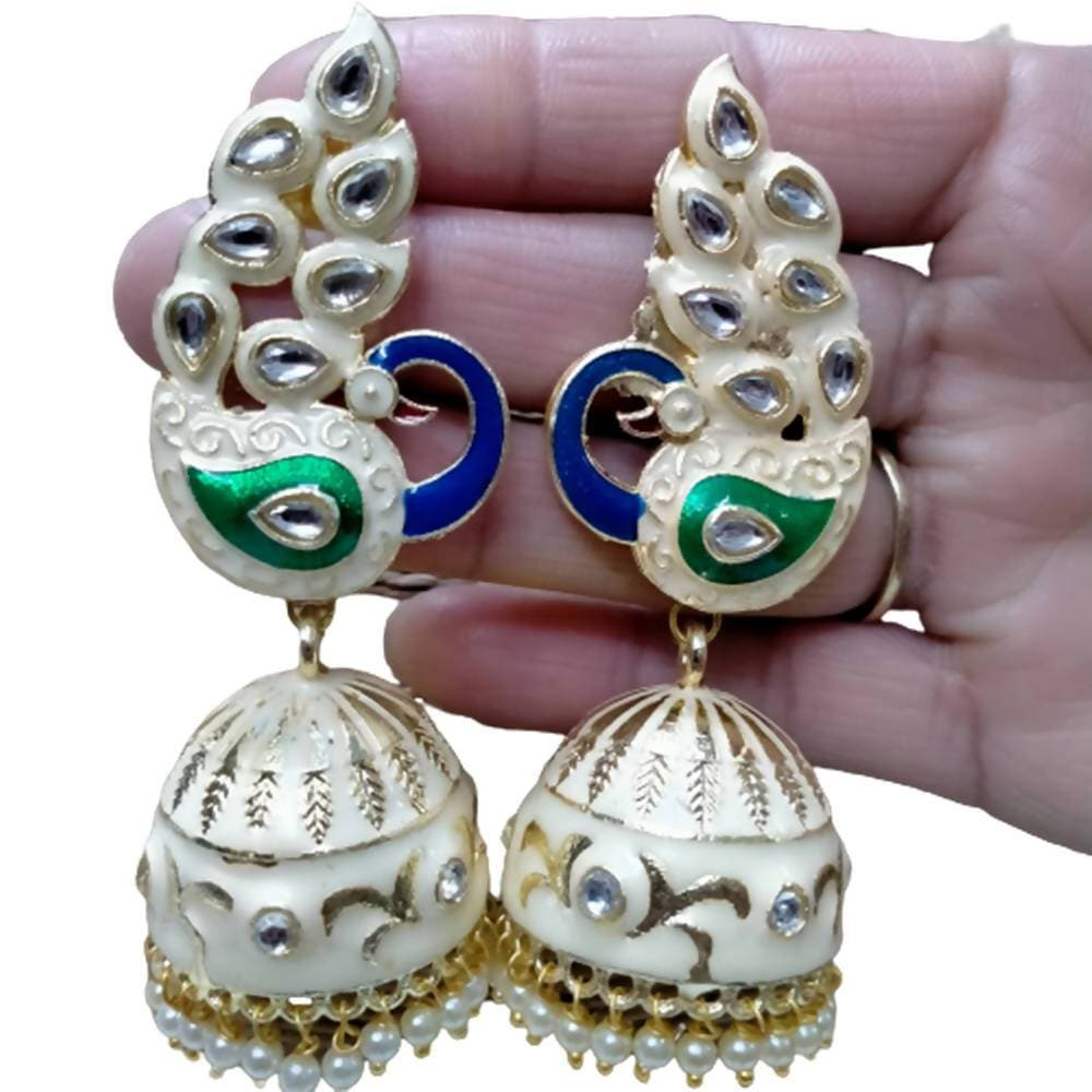 Megha Creations Peacock Jhumka Off White Colour Earrings - Distacart
