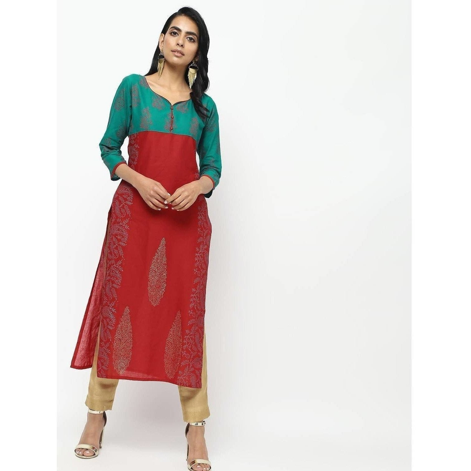 Cheera Red Traight Printed Kurta