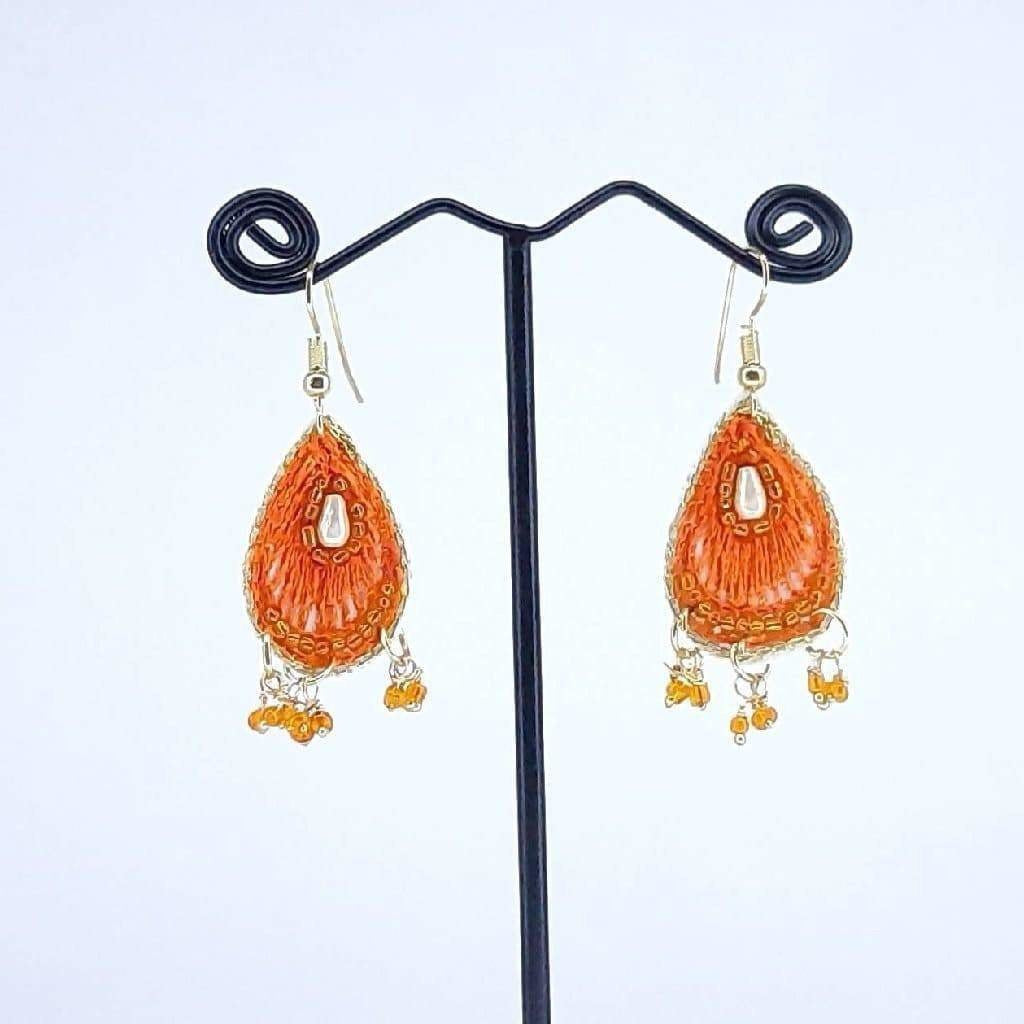 Hand Crafted Orange Thread work Earrings