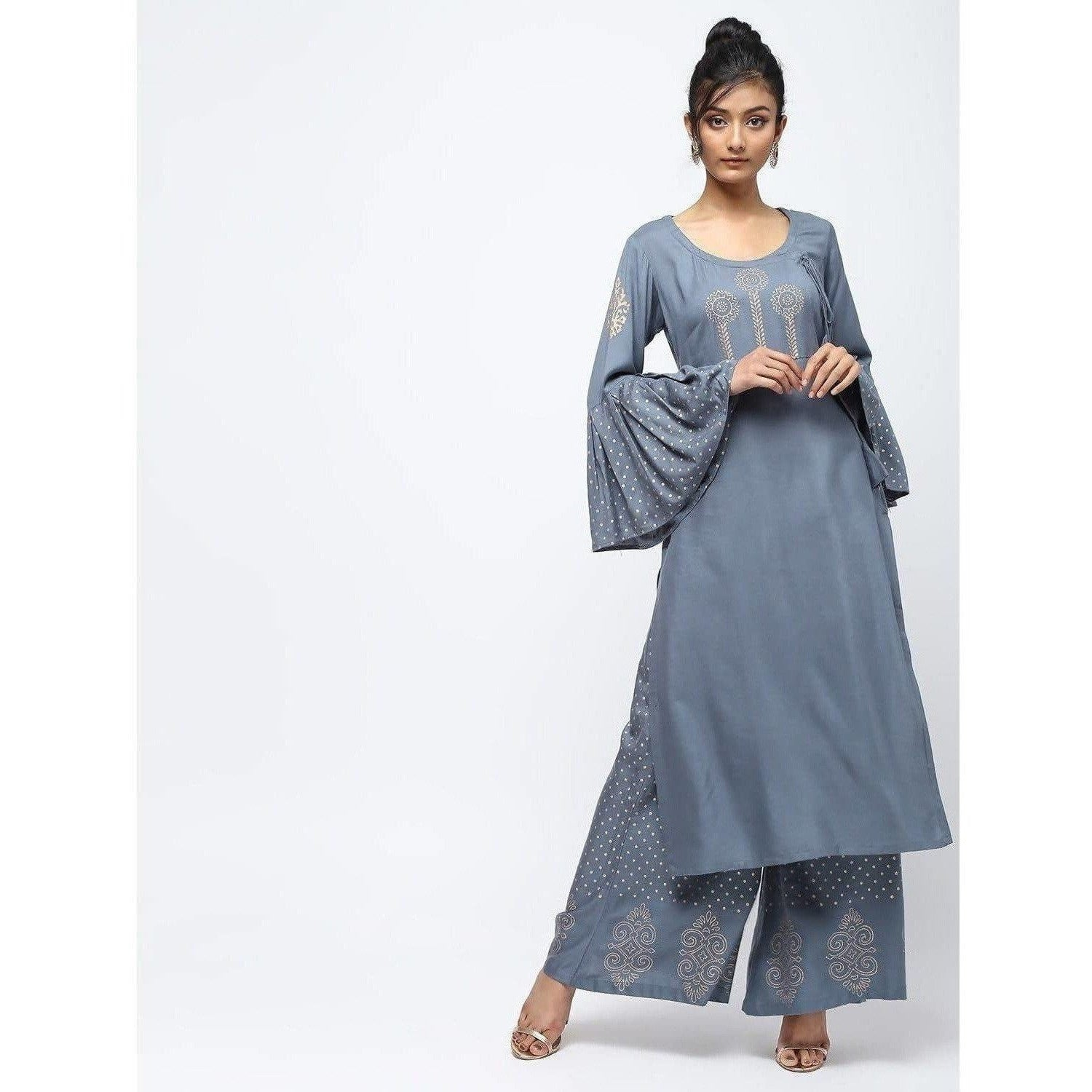 Cheera Straight Kurta With Bell Sleeve Design