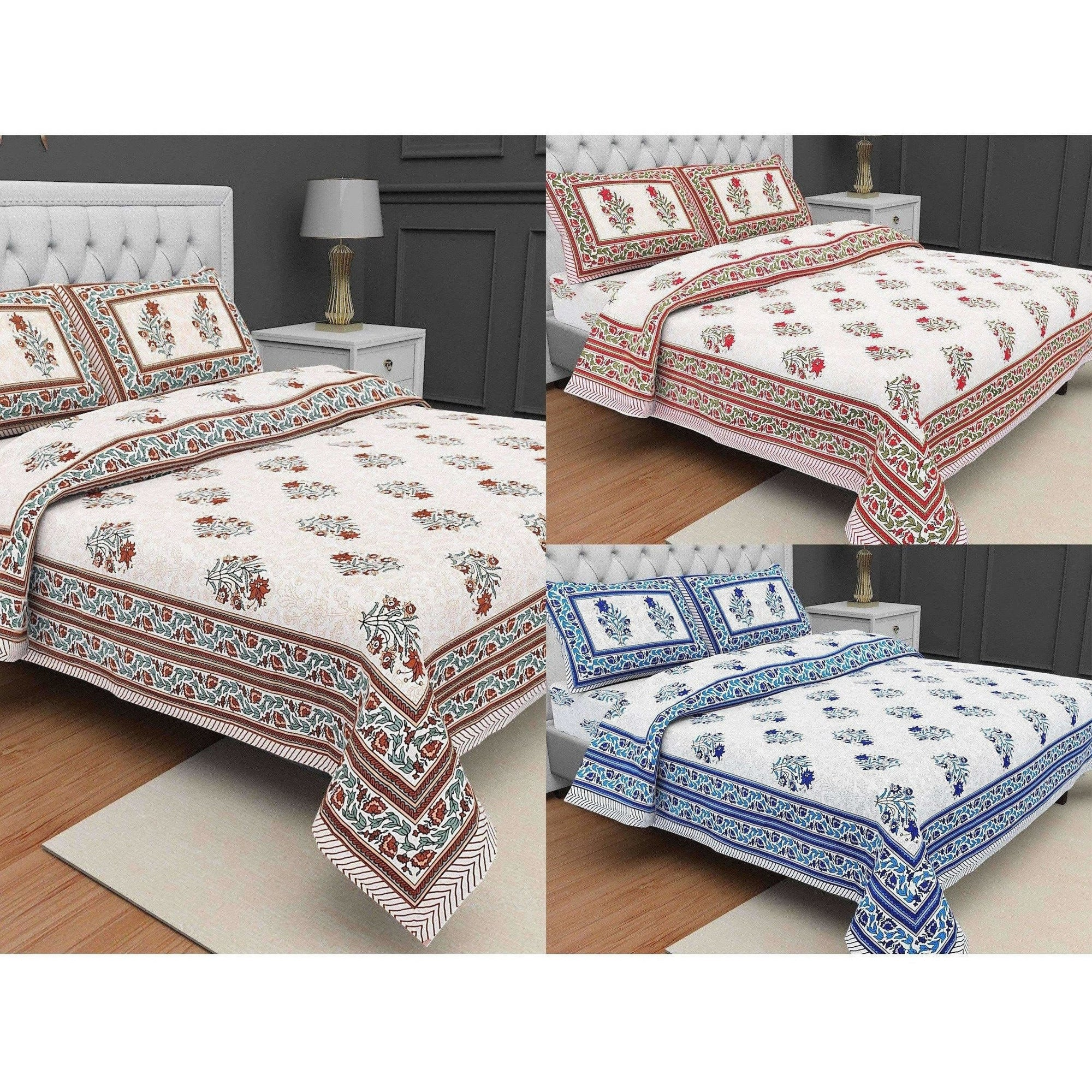 Jaipuri Hand Printed Floral 144TC Cotton DoubleQueen Bedsheet with 2 Pillow Covers