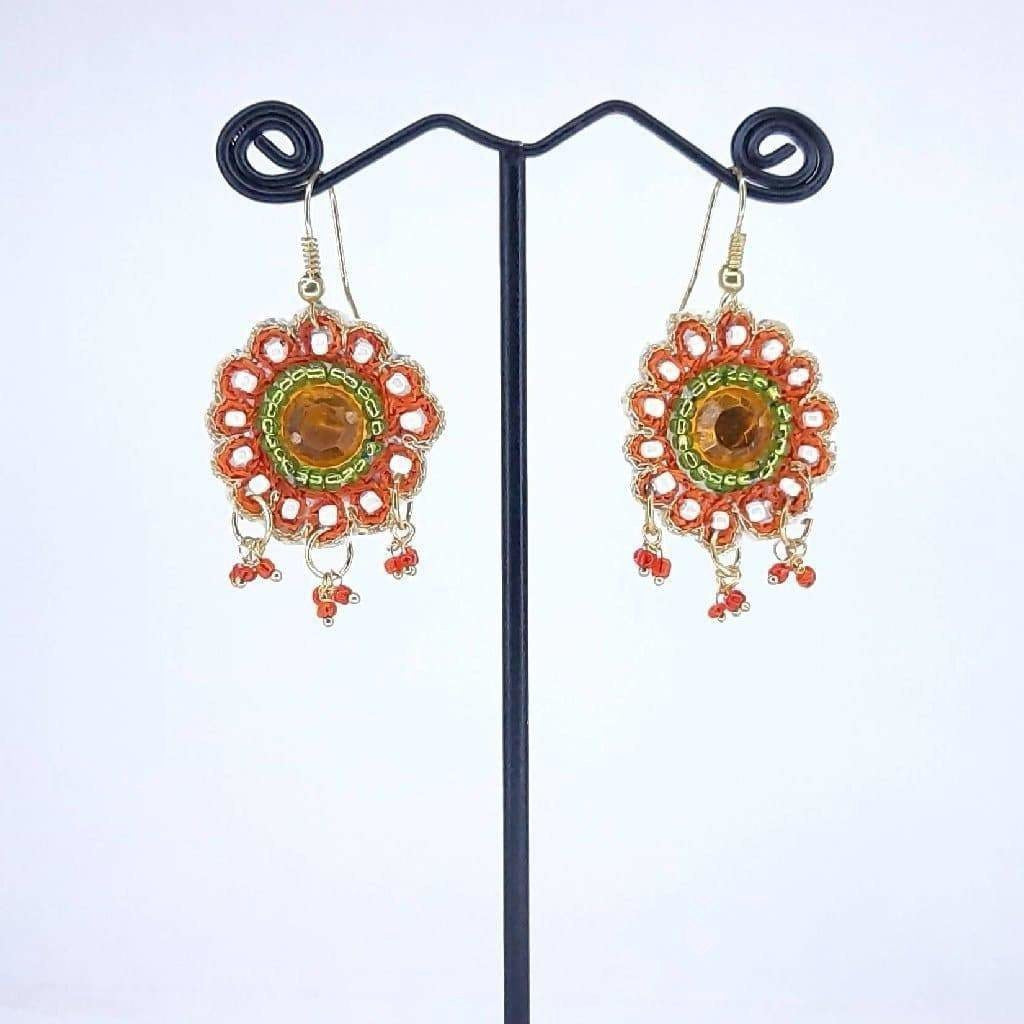 Hand Weaved Crystal stone Flower Collection Earrings