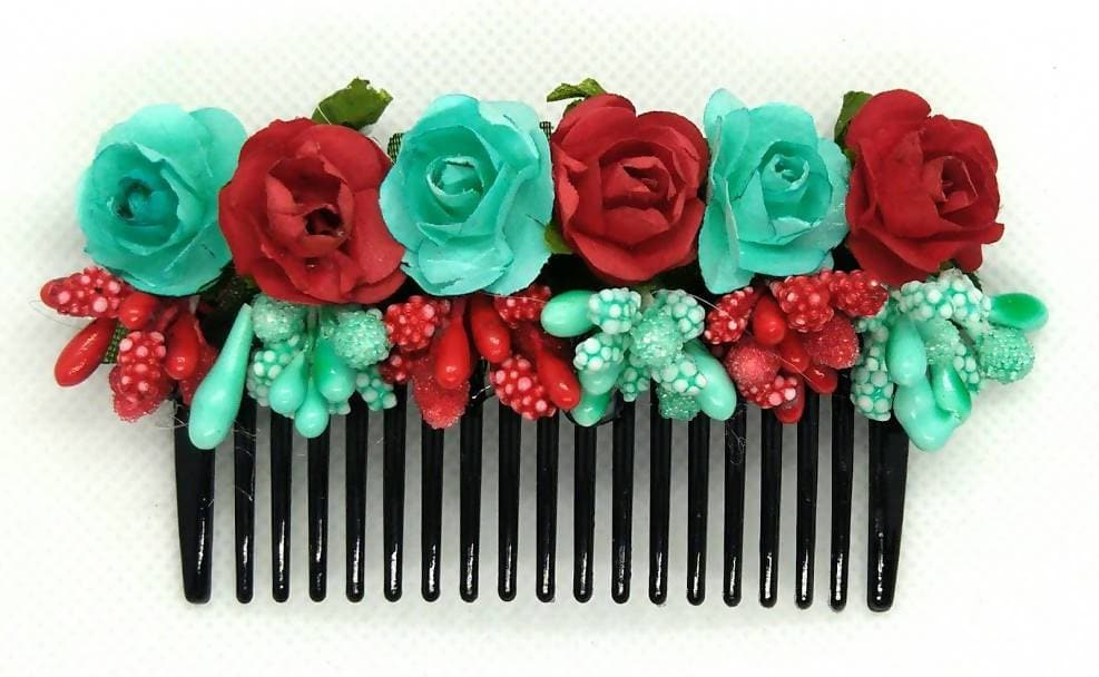 Light Green & Red Flower Hair comb