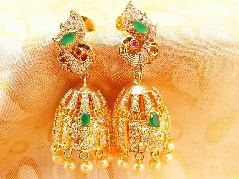 AD Emeralds Peacock Jhumkas