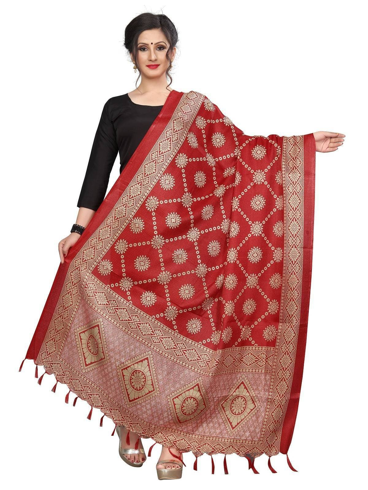 Vamika Traditional Wear Red Printed Khadi Bhagalpuri Dupatta