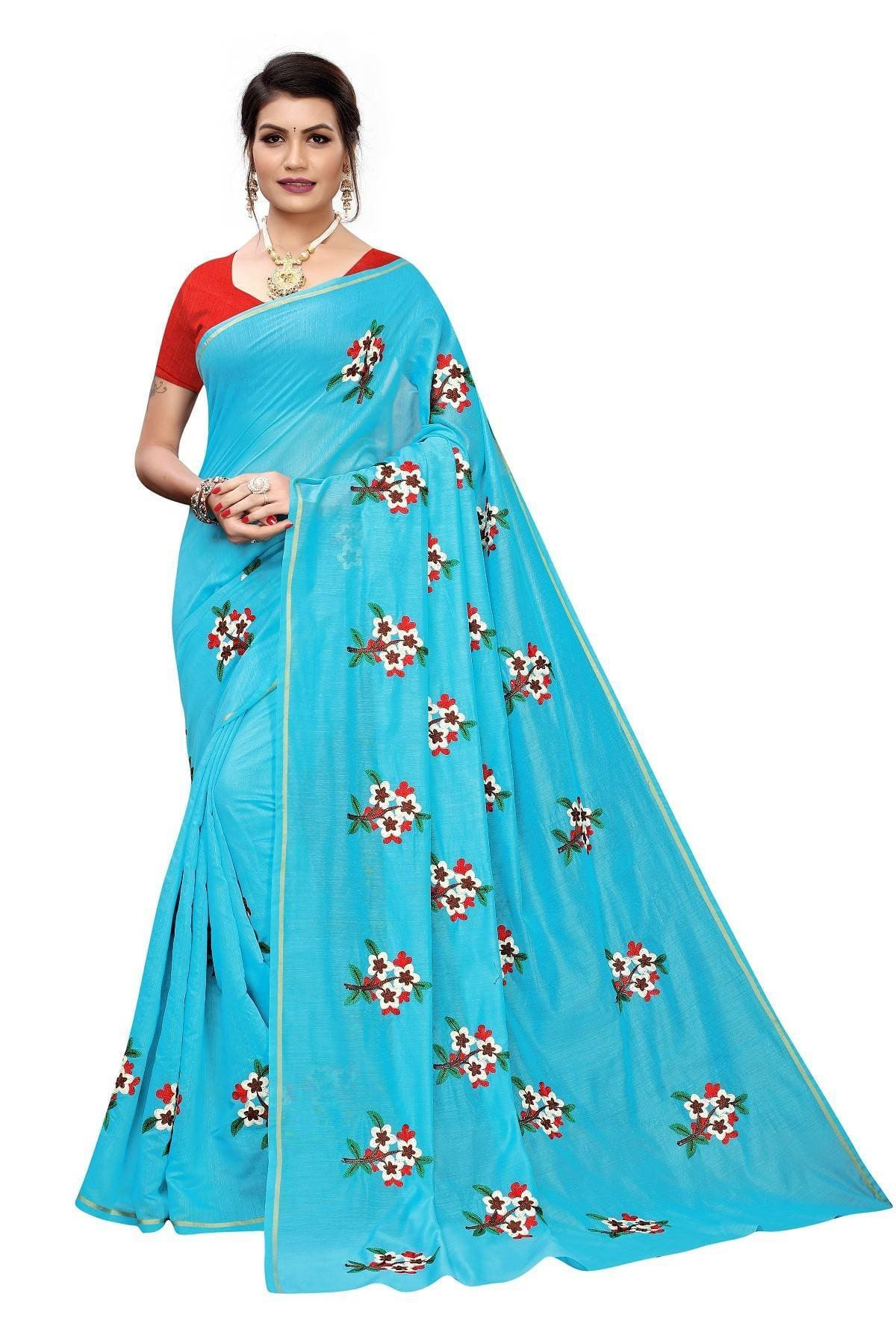 Vamika Sky Blue Chanderi Cotton Embroidery Floral Saree