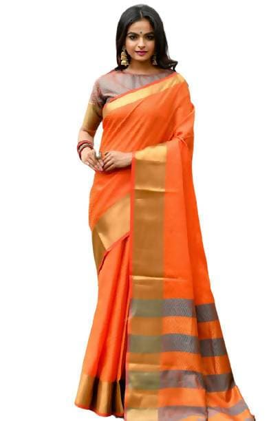 Arfa Royal Tassels and Zari Wooven Border Weaving Silk Saree
