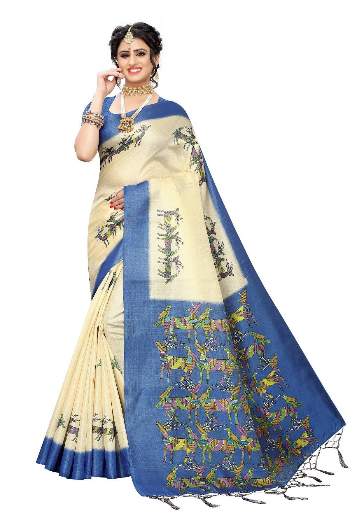 Vamika Multicolor & Blue Kalamkari With Jhalar Khadi Silk Saree