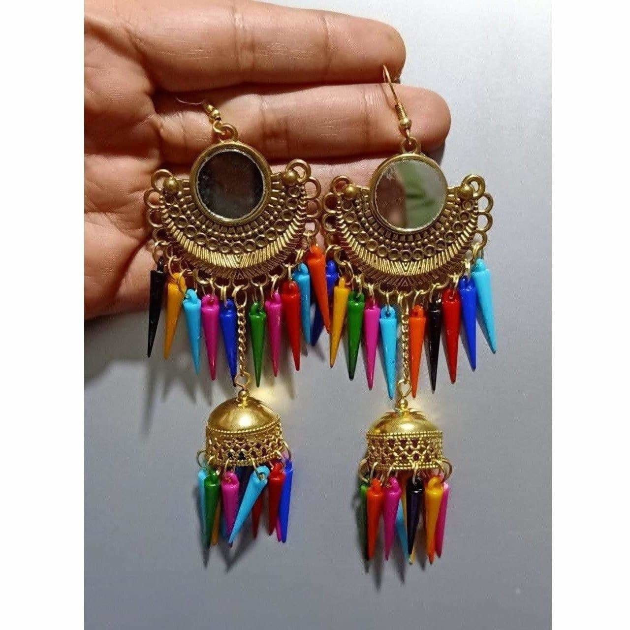 Gold Color Earrings With Jhumka And Multicolor Metal Drops