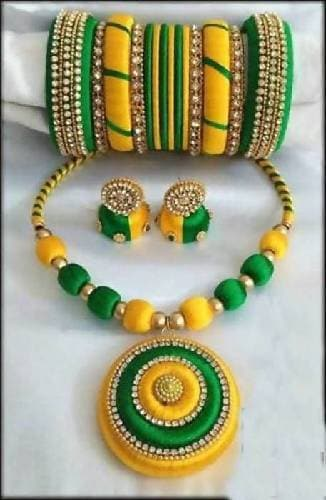 Green and Yellow Silk Threaded Necklace Set, Earrings And Bangles Set of 2