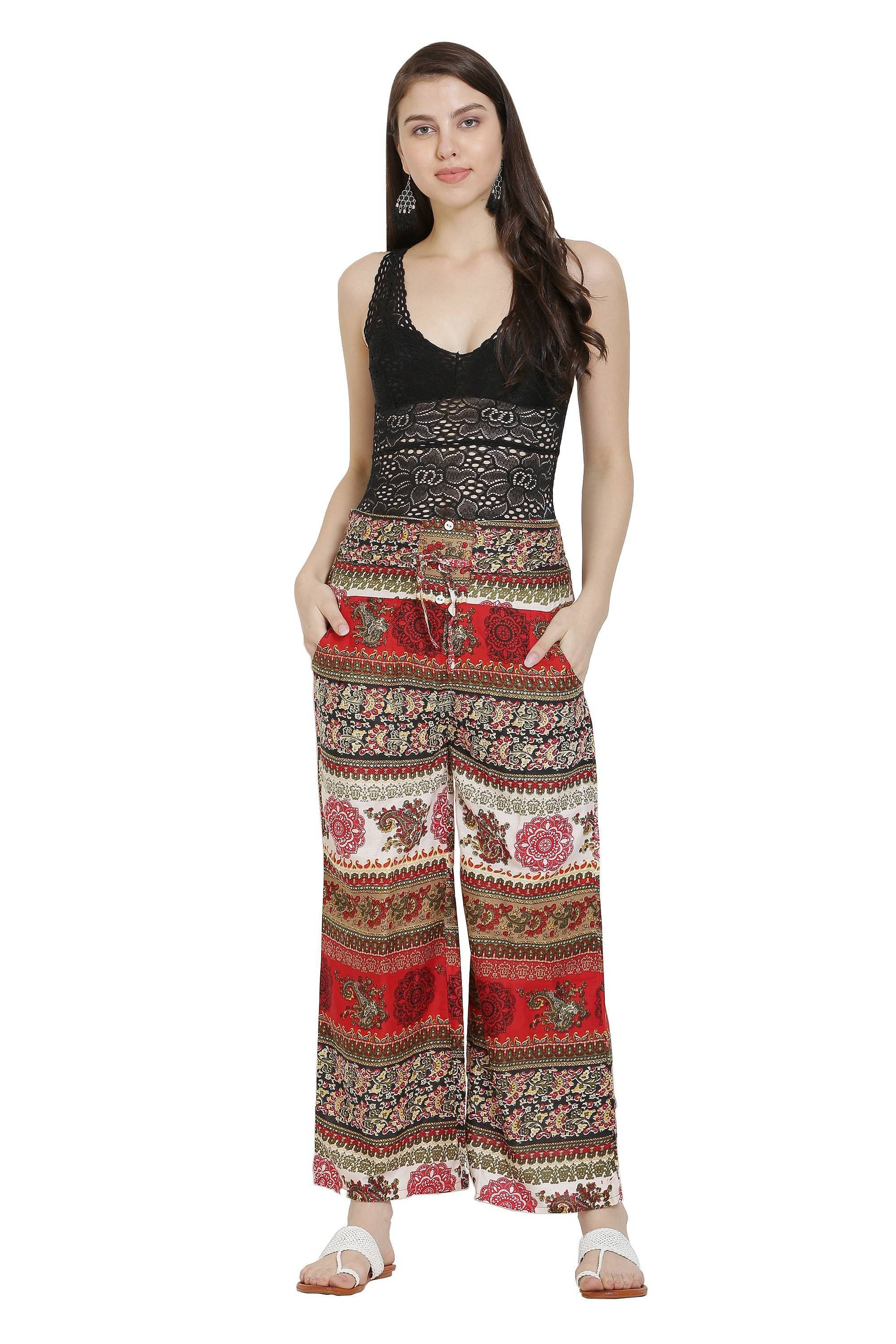 Asmaani Red Color Mix Print Palazzo