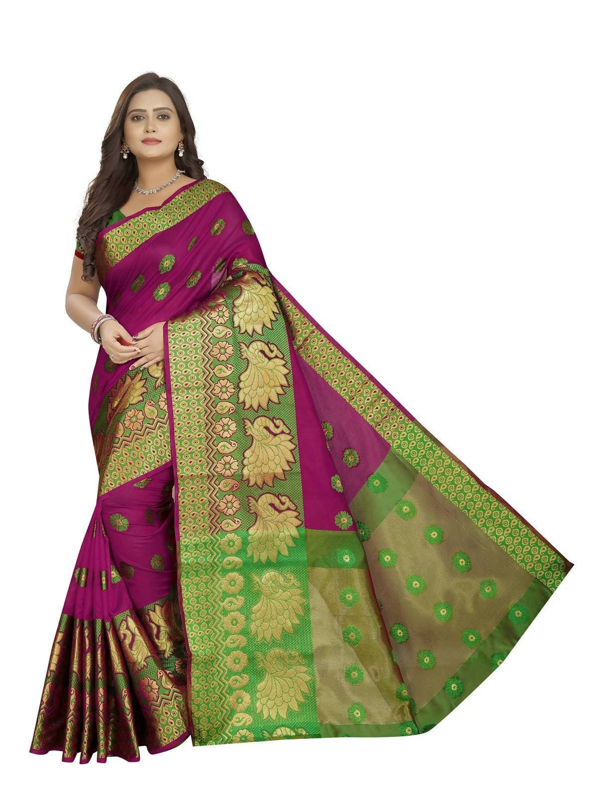 Vamika Banarasi Cotton Silk Pink Weaving Saree