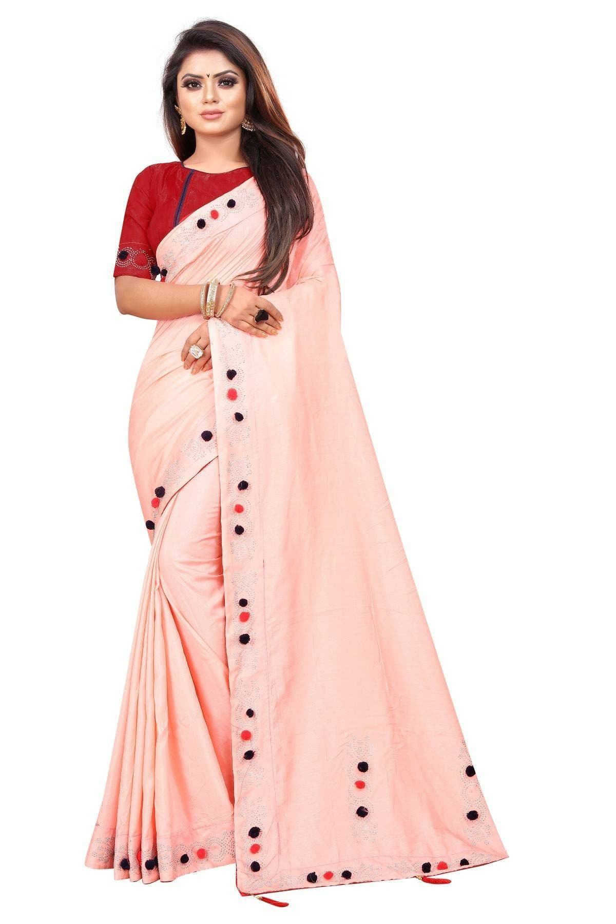 Vamika Peach Sana Silk Diamond And Pom Pom Saree