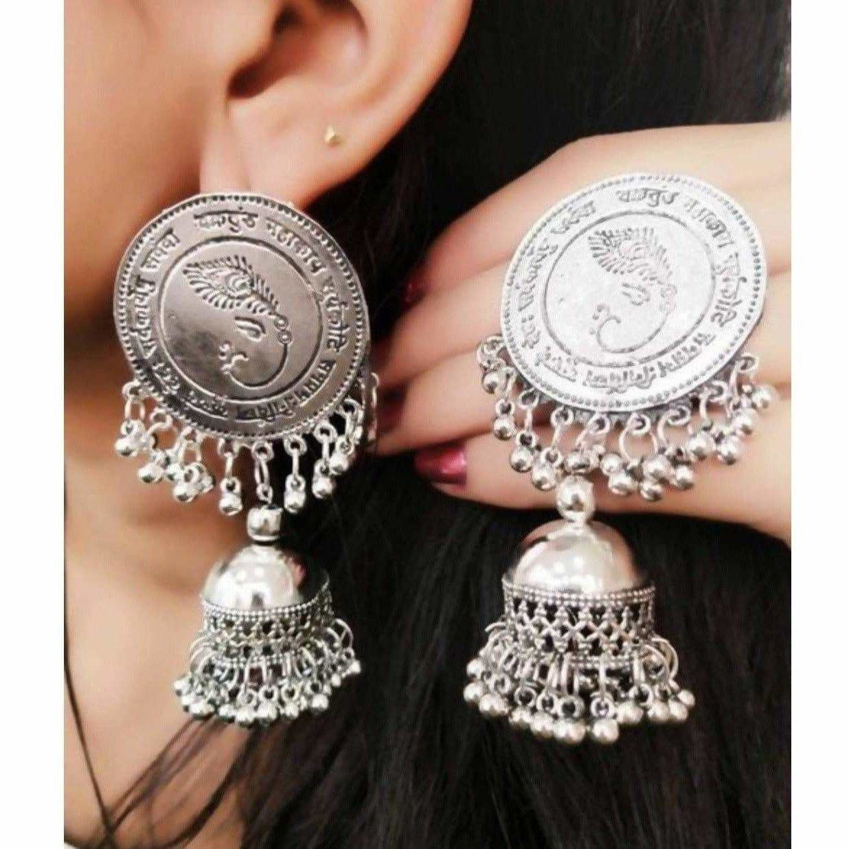 Lord Ganesh Symbol Silver Color Jhumka Earrings