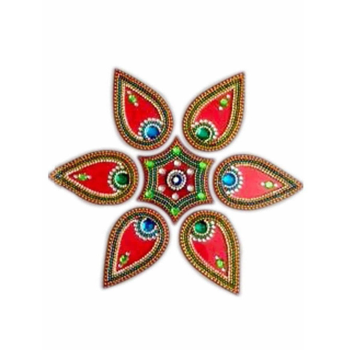 Flower Shaped 6 piece Rangoli Floor Design for pooja decoration and Wall Decoration - Dista Cart