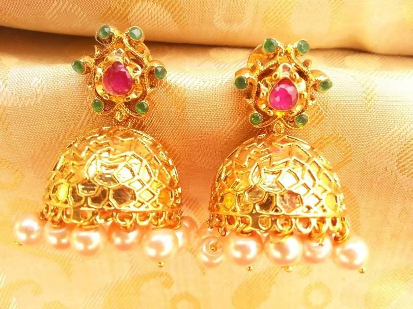 Multicolor Antique Jhumkas With Hanging Pearls