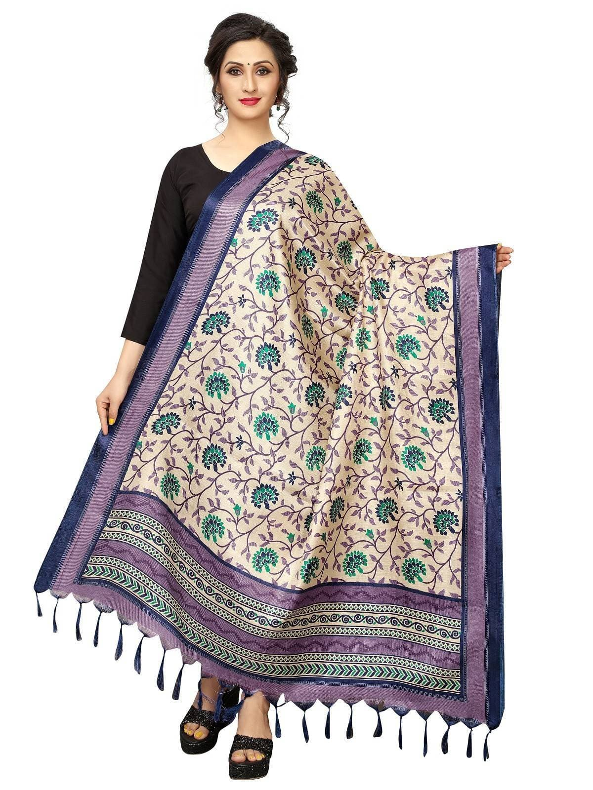 Vamika Beautiful Navy Blue Printed Khadi Bhagalpuri Dupatta