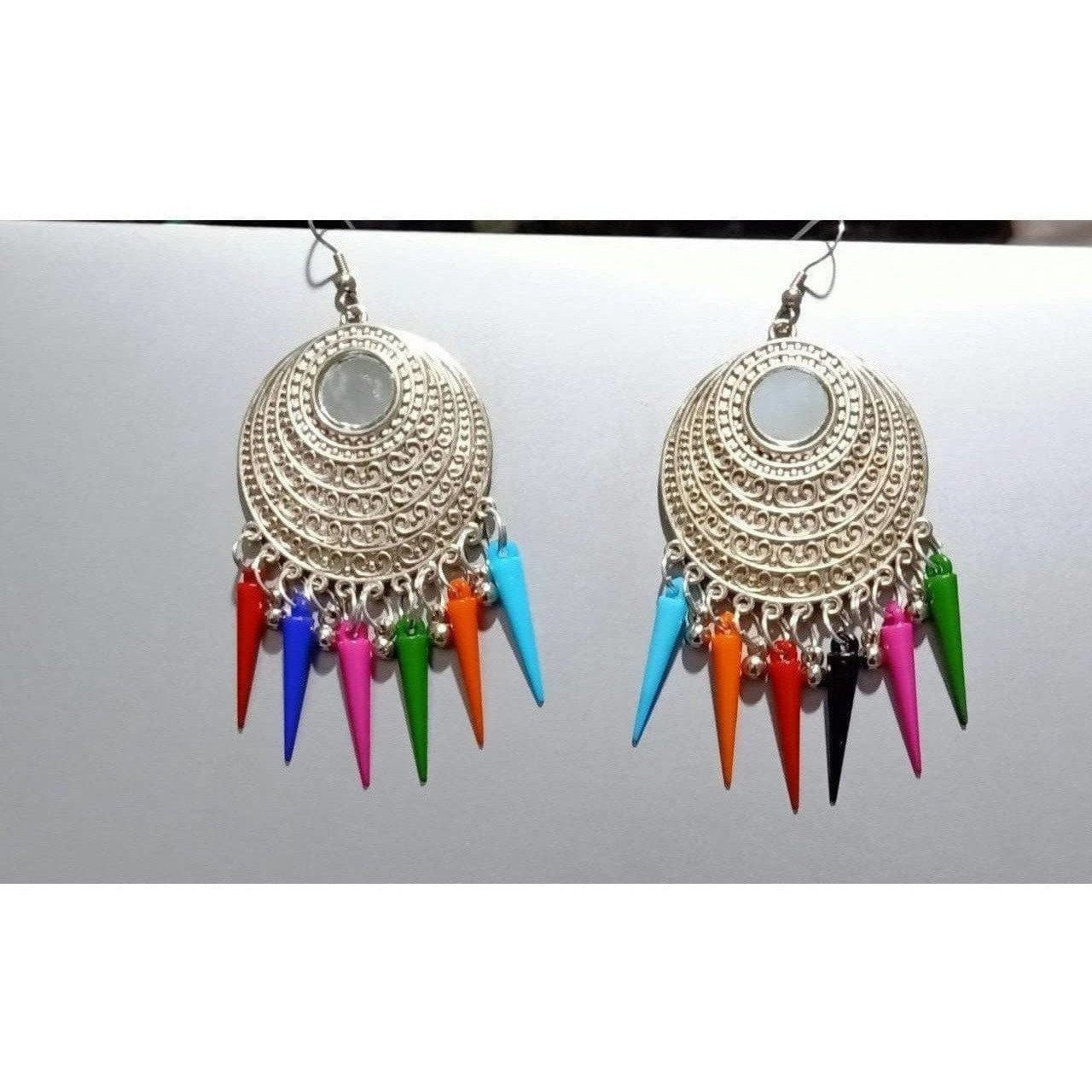 Silver Color Earrings With Long Beads