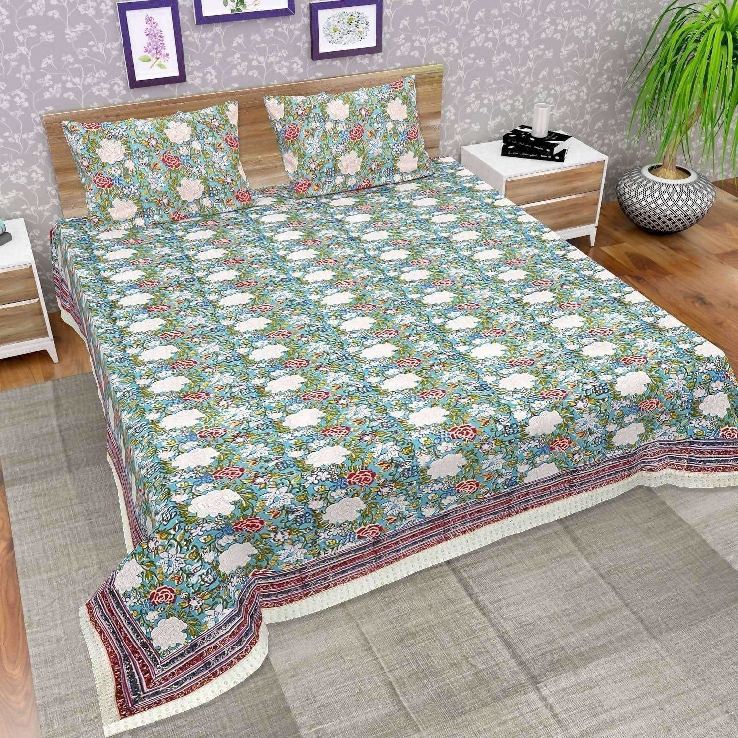 Premium Jaipuri Hand Block Printed Traditional Cotton Queen Bedsheet with 2 Pillow Covers
