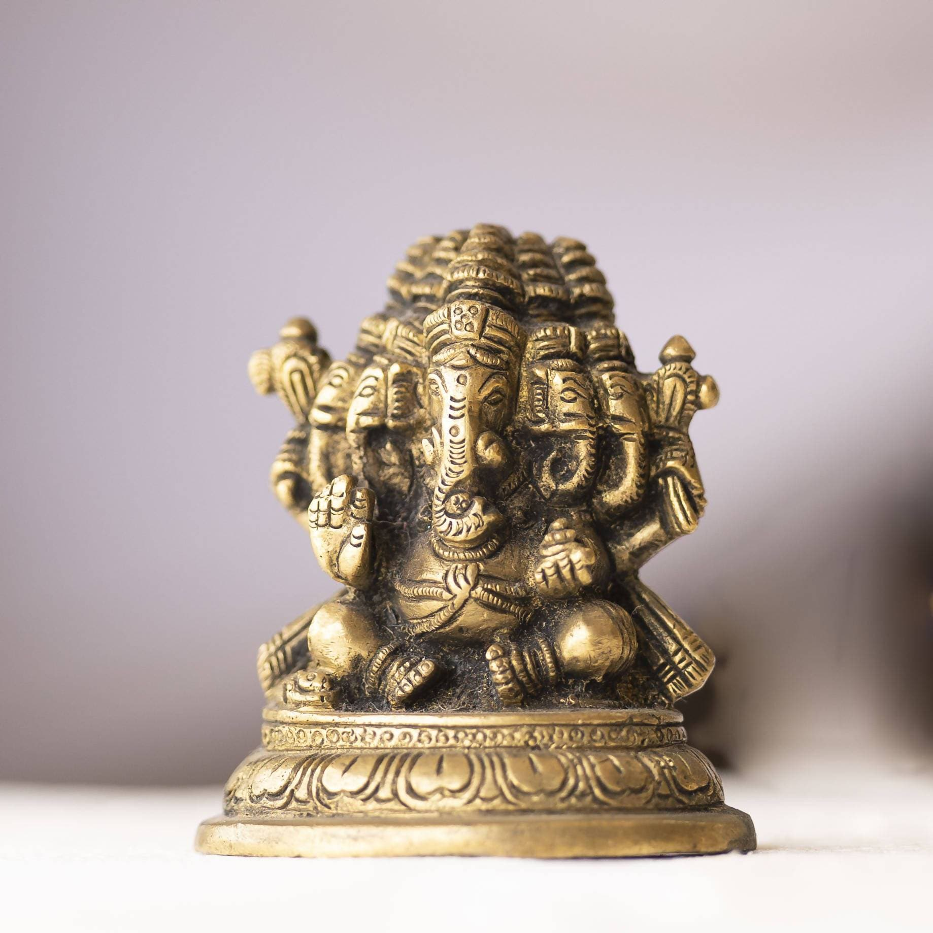 Myoksha Lord Ganesha Sitting Brass Idol For Auspicious Beginnings