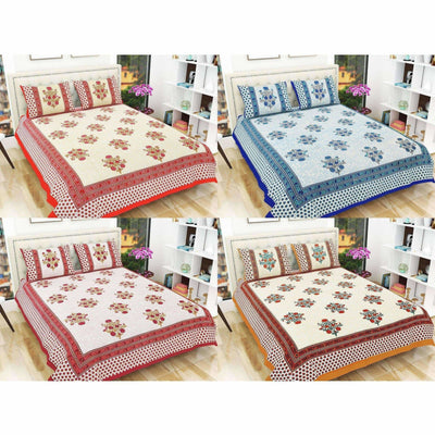 Floral Print Queen Size 90x108 Inches Jaipuri Flat Bed Sheet Bedspread with 2 Pillowcases