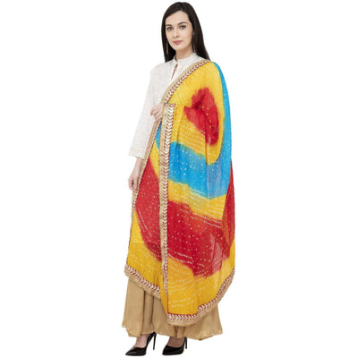 A R Silk Bandhej Multi Gota Fancy Dupatta Color Multi color Dupatta or Chunni