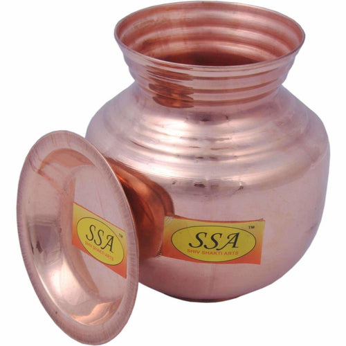 Handmade Pure Copper Kalash Lota With Lid Copper Kalash  (Height: 6.5 inch, Brown)