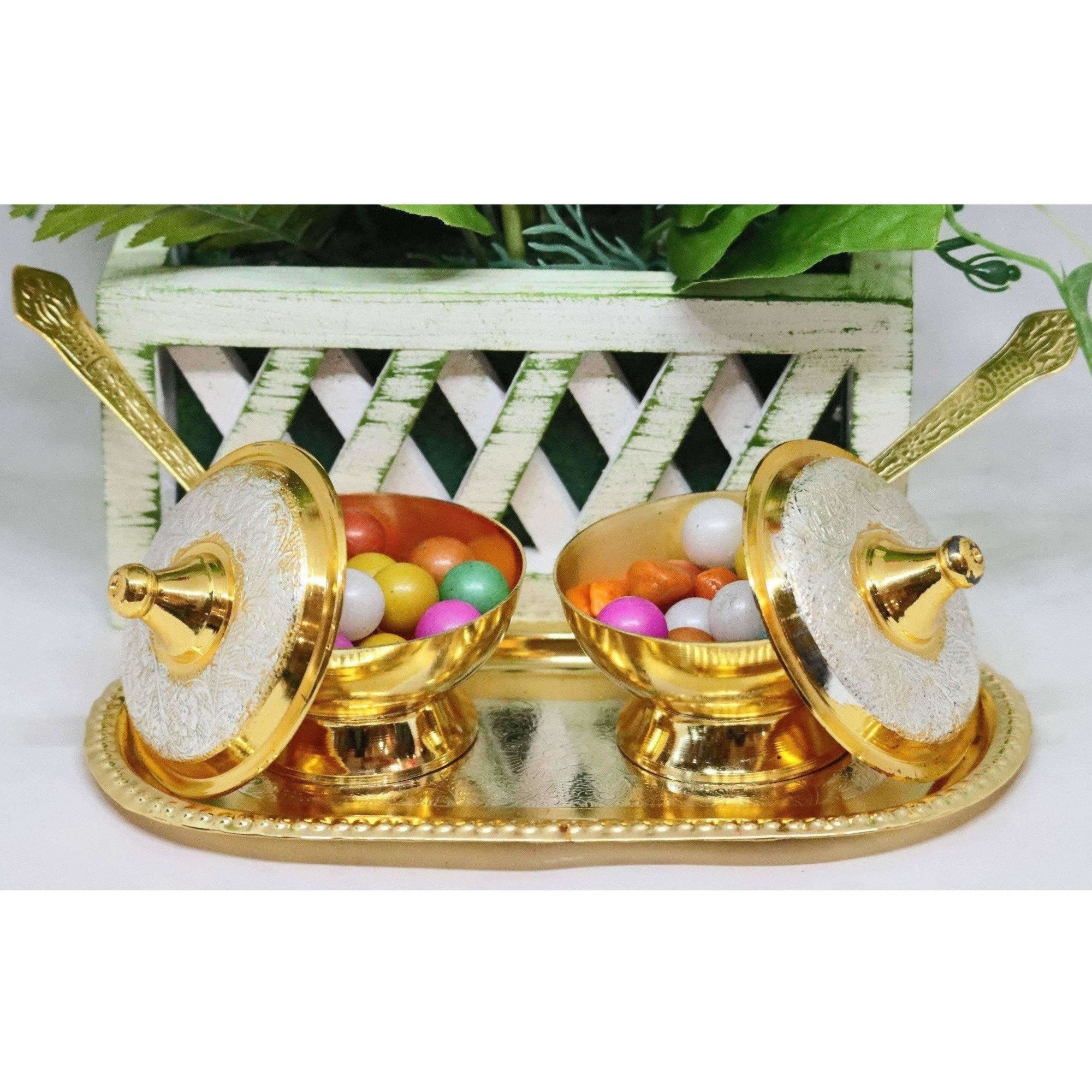 Chahat Premium Living Brass Supari Set