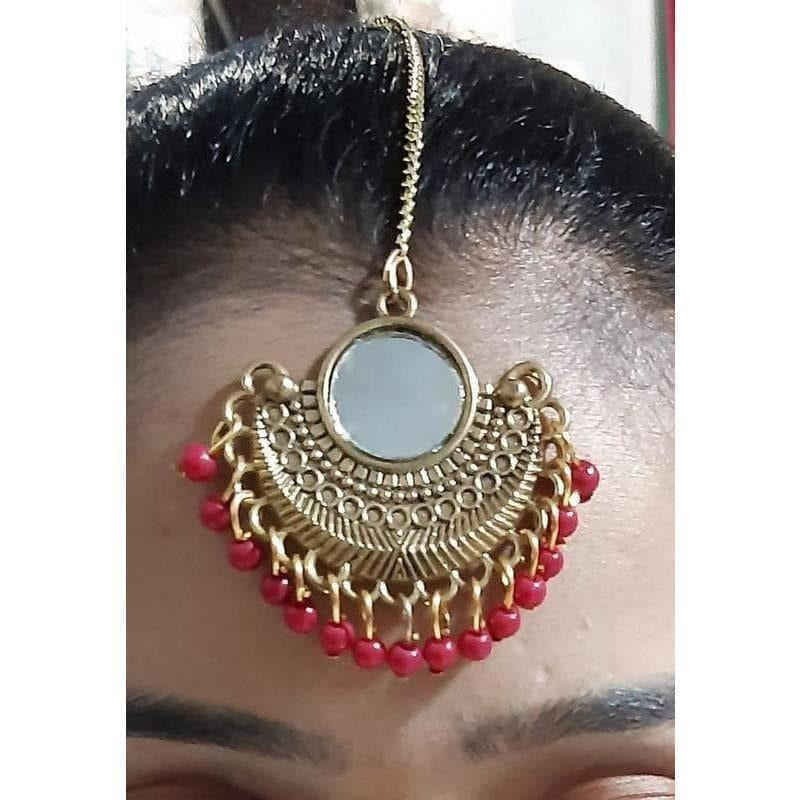 Gold Plated Red Color Pearls Mirror Maang Tikka