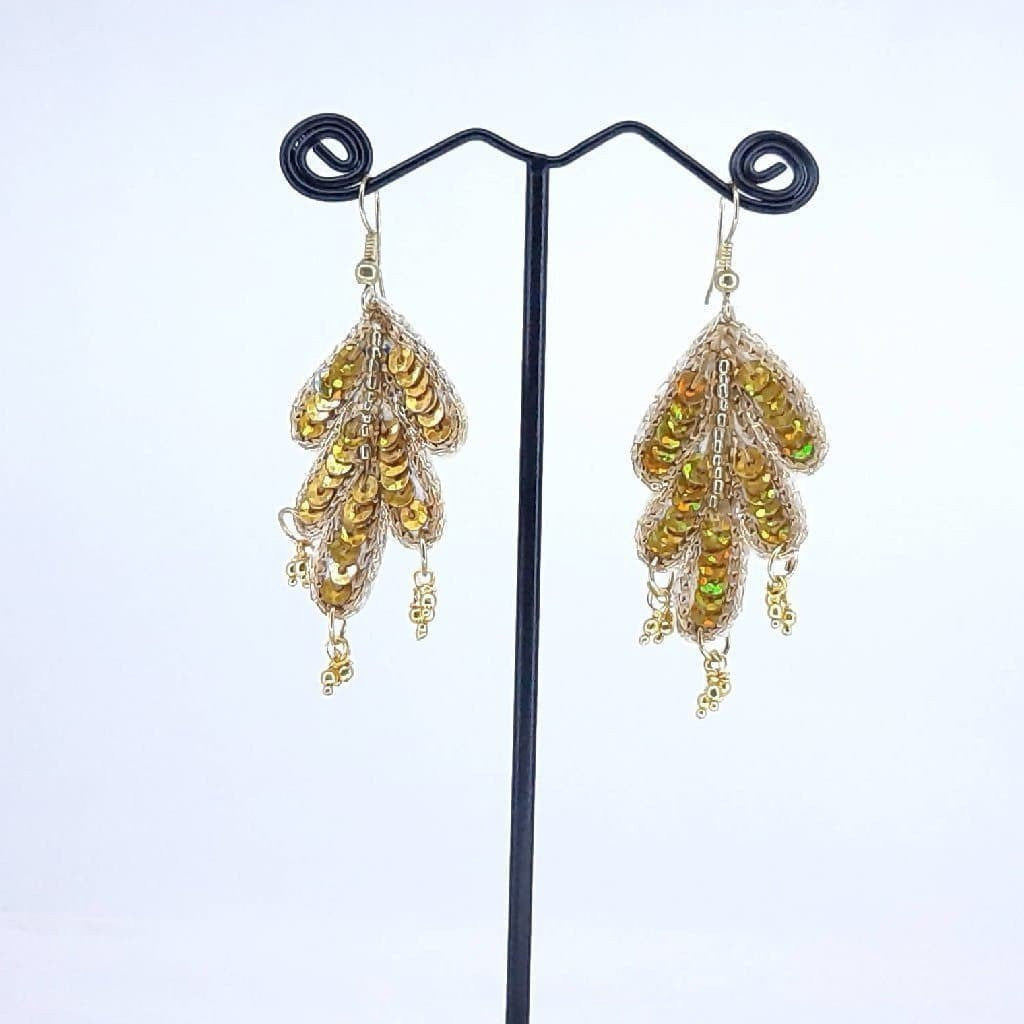 Hand weaved Golden Leaf with Zari work Earrings