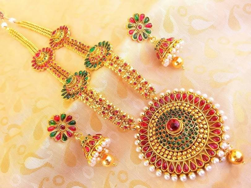 Traditional Multicolor Kemp Long Necklace Set