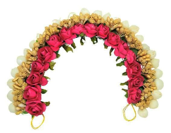 Pink & Gold Flower Hair Gajra