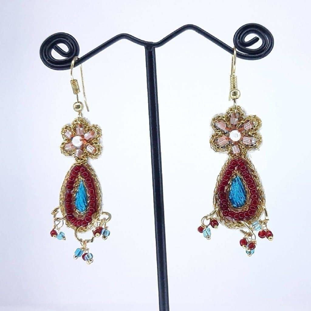Hand weaved Simple Dangling Leaf with Zari work Earrings
