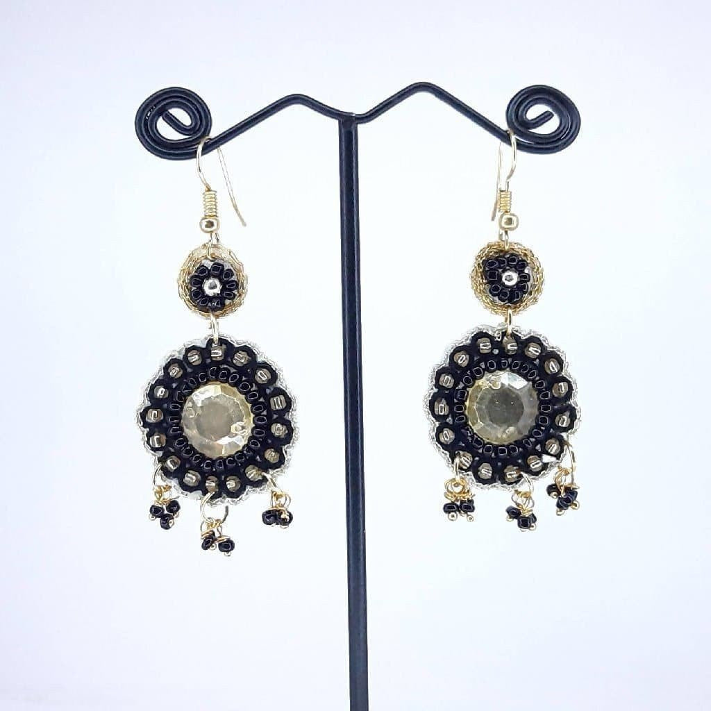 Hand weaved Dangling Crystal Stone Flower Earrings Collection