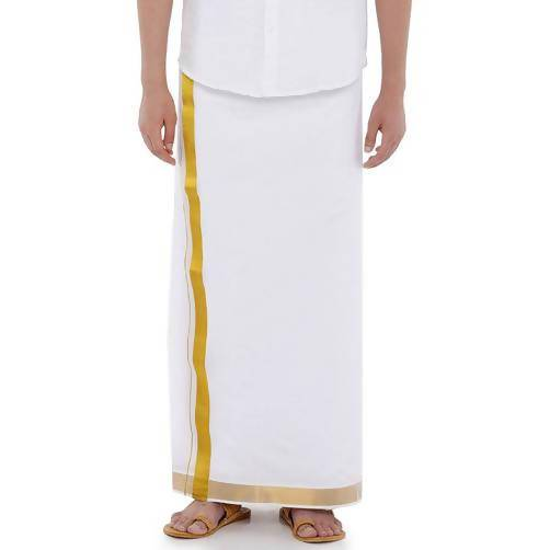 Ramraj Cotton Gold Special Plain White Double Dhoti