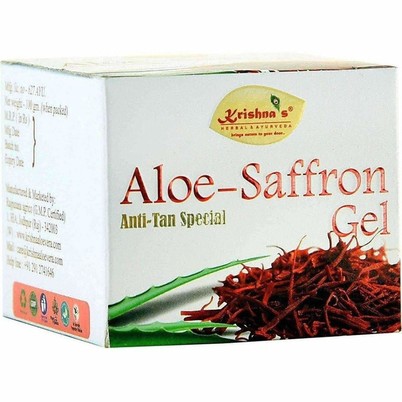 Krishna's Herbal & Ayurveda Aloe Vera Saffron Gel (100 gm)
