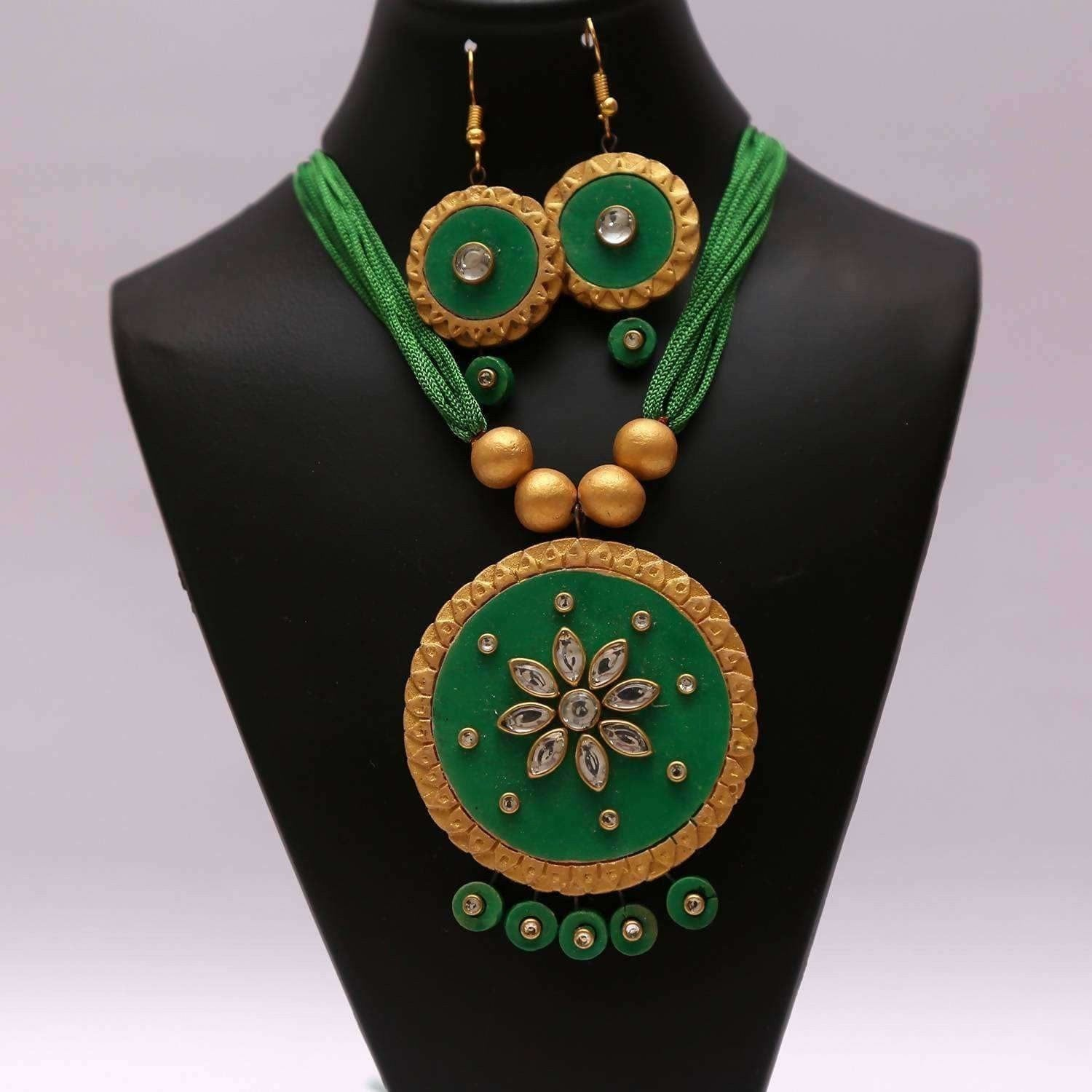 Terracotta Hand Made Kundan Work Jewelry Set