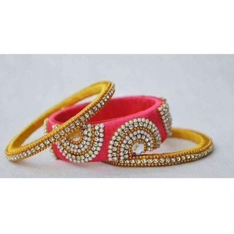 Pink and Yellow Color Combination with White Stones Bangles