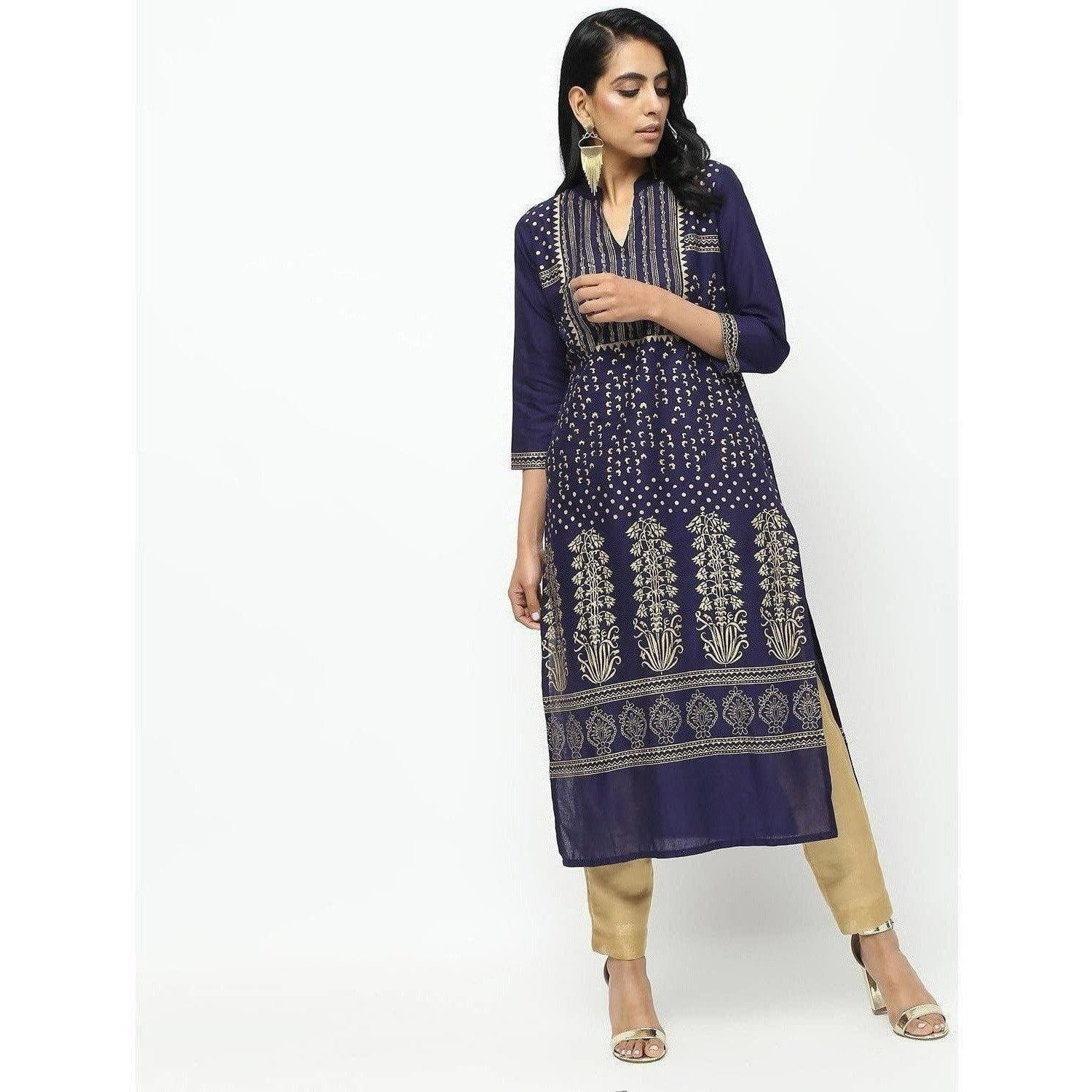 Cheera Navy Blue Straight Foil Printed Long Kurta