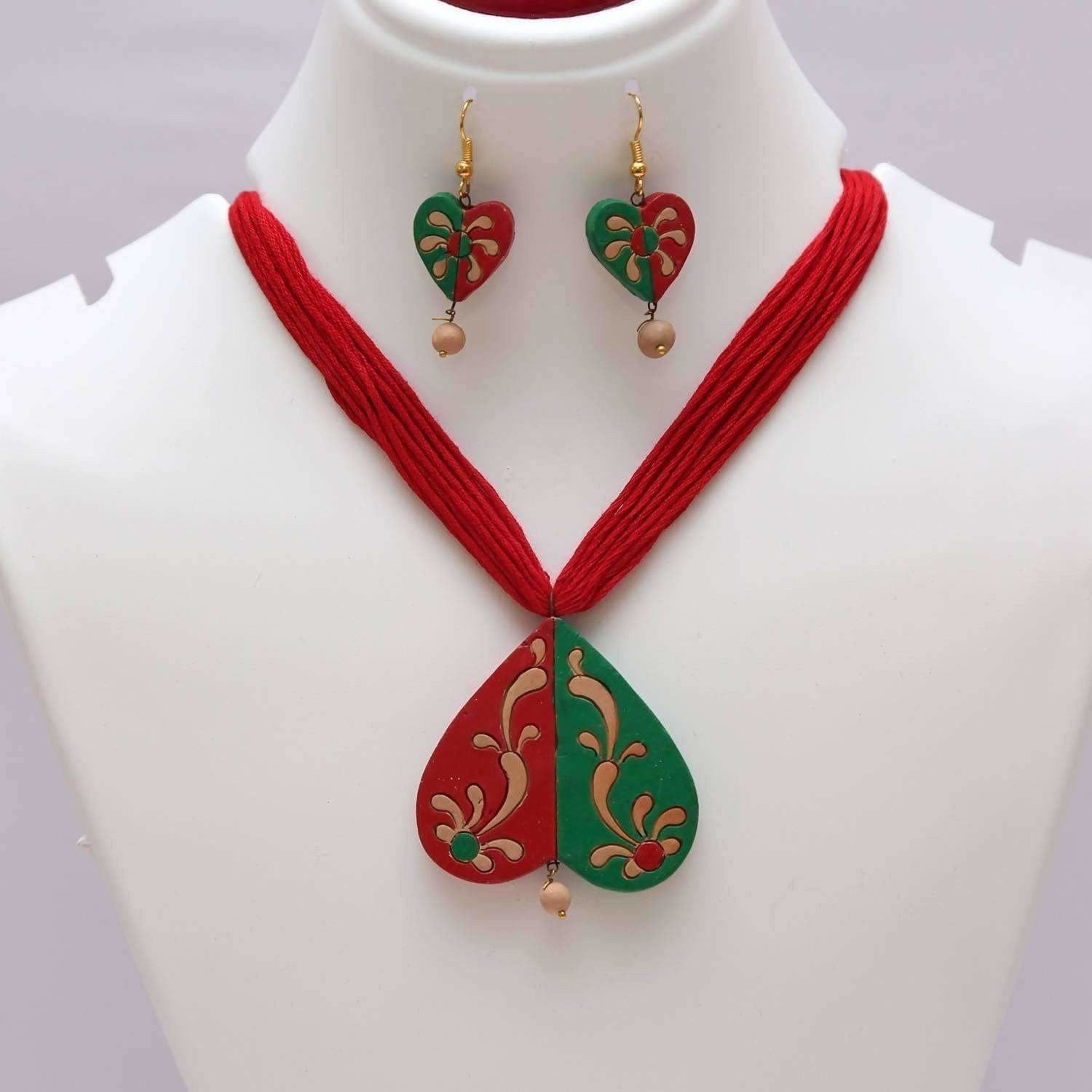 Terracotta Jewelry Multi color Heart Shape Jewelry Set